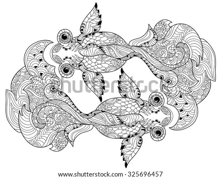 Zentangle stylized floral china fish doodle. Hand Drawn vector illustration boho. Sketch for tattoo or coloring book. - stock vector