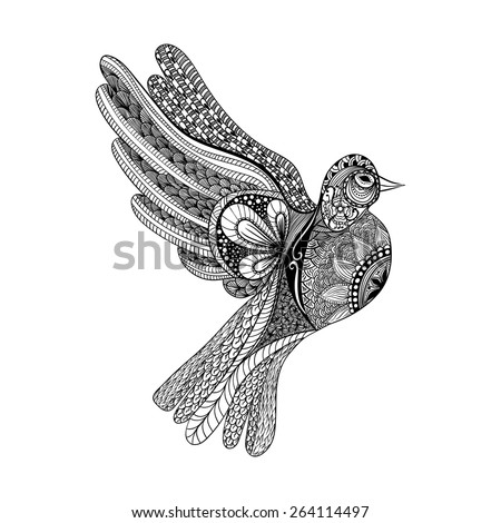 Zentangle stylized floral Pigeon for Peace Day. Hand Drawn Dove of peace vector illustration. Sketch for tattoo or makhenda. Bird collection. - stock vector