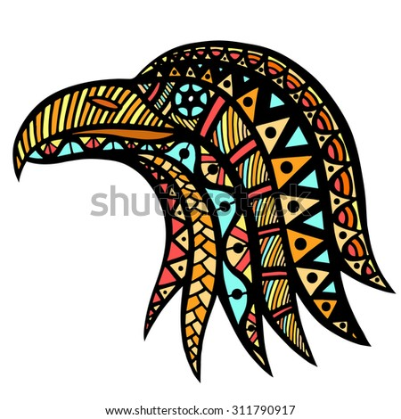 Zentangle stylized head of eagle. Hand Drawn doodle vector illustration isolated on white background. Sketch for tattoo or indian makhenda design. Can be used for postcard, t-shirt, bag or poster. - stock vector