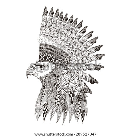Zentangle stylized head of eagle in feathered war bonnet. Hand Drawn vector illustration isolated on white background. Sketch for tattoo or indian makhenda, postcard, t-shirt, fabric bag or poster.  - stock vector
