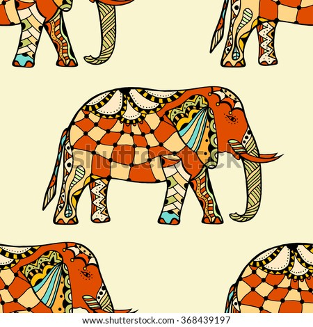 Zentangle stylized Indian Elephant. Hand Drawn vector illustration isolated on white background. Makhenda Bollywood seamless pattern. - stock vector