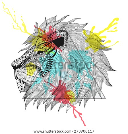 Zentangle stylized Lion face in triangle frame with watercolor ink drop. Hand Drawn doodle vector illustration. Sketch for tattoo or makhenda. Animal collection. - stock vector