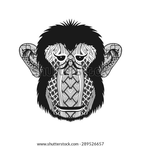 Zentangle stylized Monkey face. Hand Drawn doodle vector illustration isolated on white background. Sketch for tattoo or indian makhenda, postcard, t-shirt, fabric bag or poster. - stock vector