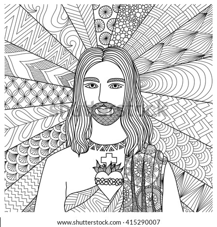 Zentangle stylized of Jesus Christ for coloring book, T- Shirt graphics, cards, illustration and so on - Stock vector - stock vector
