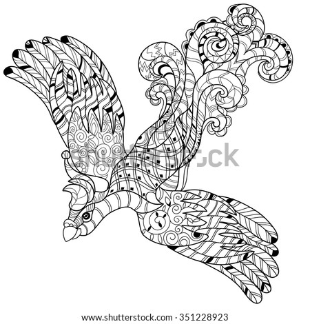 Zentangle stylized peacock Hand Drawn vector illustration. Sketch for tattoo or makhenda. Bird collection. - stock vector