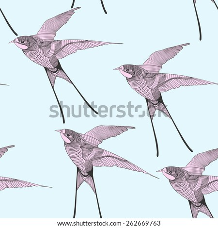 Zentangle stylized swallow seamless pattern. Hand Drawn vector illustration. Sketch for tattoo or makhenda. Bird collection. - stock vector