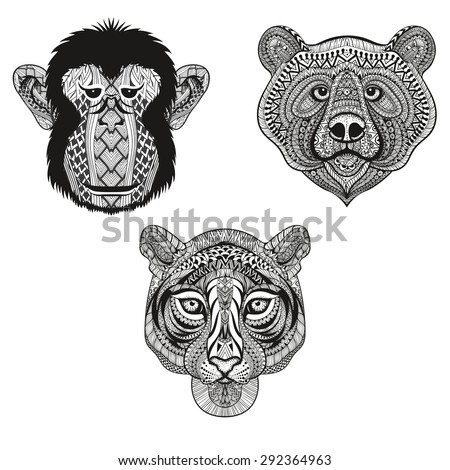 Zentangle stylized Tiger, Monkey, Bear faces. Hand Drawn doodle vector illustration isolated on white background. Sketch for tattoo, postcard, t-shirt, fabric bag, poster. Animal set. - stock vector