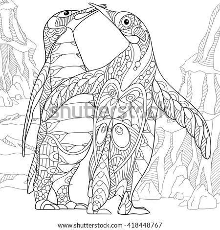 Zentangle stylized two cartoon emperor penguins kissing and hugging. Hand drawn sketch for adult antistress coloring page, T-shirt emblem, logo, tattoo with doodle, zentangle, floral design elements. - stock vector