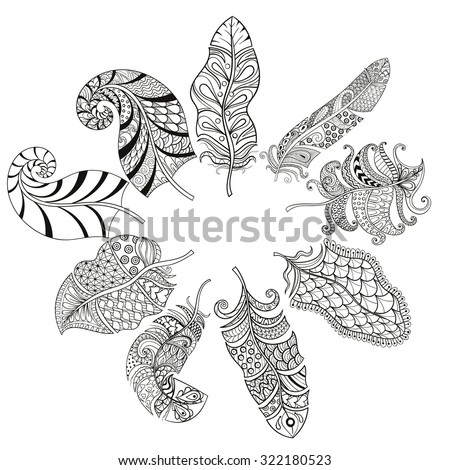 Zentangle stylized various feathers for coloring page. Hand drawn vintage illustration for adult anti-stress coloring page on white background. Ethnic decorative elements. - stock vector