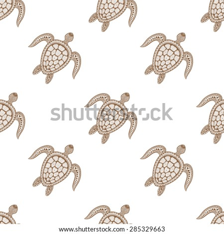 Zentangle tribal stylized turtle seamless pattern. Hand Drawn aquatic doodle vector illustration. Sketch for tattoo or makhenda. Animal sea collection. Ocean life. - stock vector