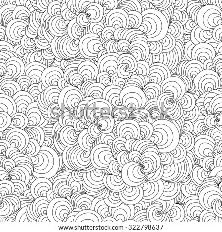 Zentangle wavy seamless pattern. Doodle black and white abstract vector background. - stock vector