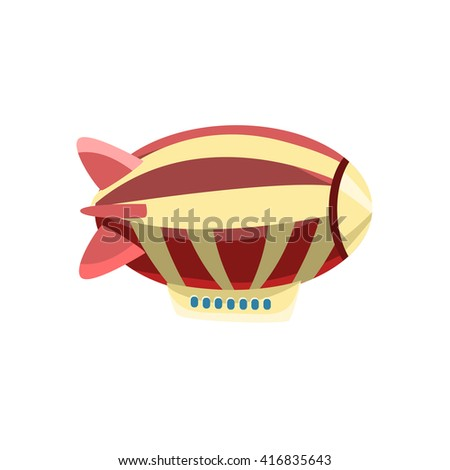 Zeppelin Toy Aircraft Glossy Vector Drawing In Childish Fun Style Isolated On White Background - stock vector
