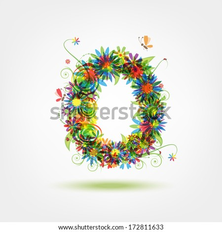 Zero, floral number for your design - stock vector