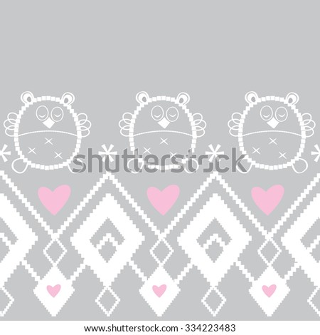 zigzag tribal  pattern, cute owl with hand and drawn geometrical background vector illustration - stock vector