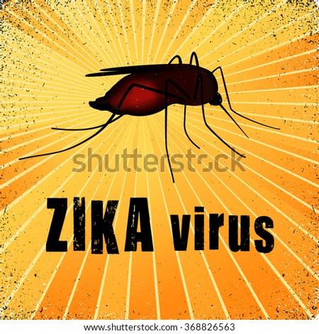 Zika virus mosquito, graphic illustration, with gold ray grunge background. EPS8 compatible. - stock vector