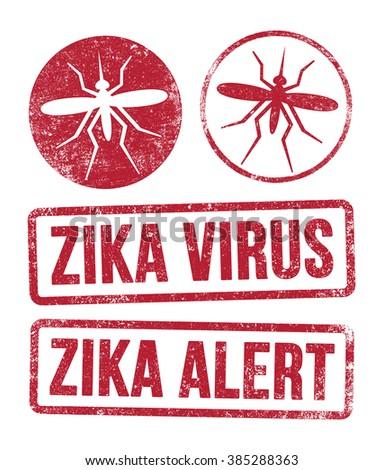 Zika virus stamps - stock vector