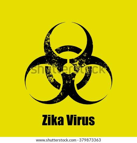 Zika virus warning sign on a  yellow background - stock vector