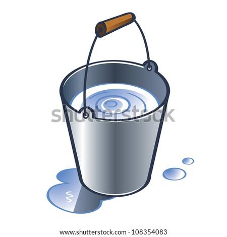 Zinc Bucket with wooden handle water drops - stock vector