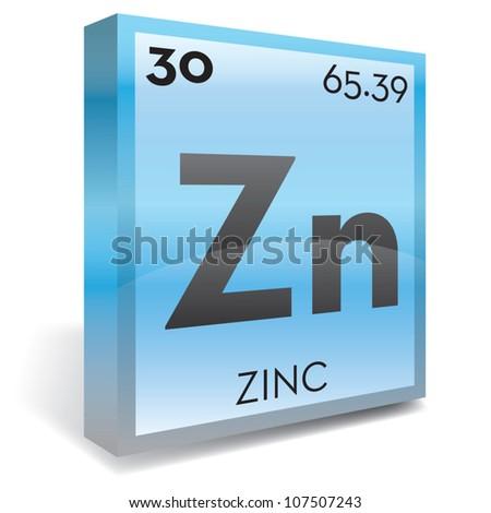Zinc element periodic table - stock vector