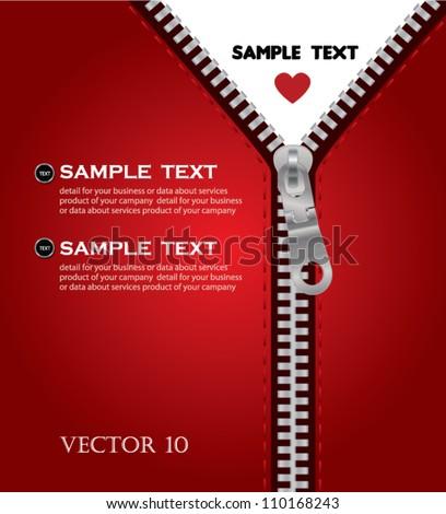 Zip red open heart - stock vector