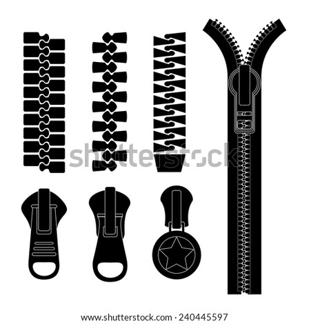 Zipper design over white background, vector illustration. - stock vector