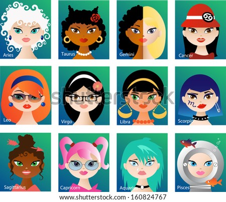 Zodiac astrological signs vector set for horoscope with cute girls faces - stock vector