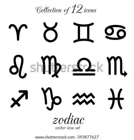 Zodiac, astrology, horoscope icon set. Vector illustration. - stock vector