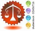 zodiac badge libra - stock vector