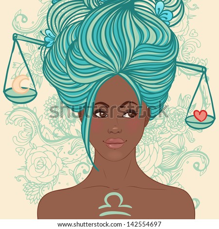 Zodiac beautiful girls set (African American version). Libra. - stock vector