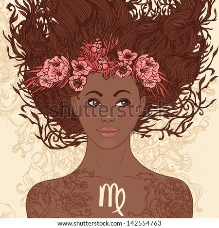 Zodiac beautiful girls set (African American version). Virgo. - stock vector