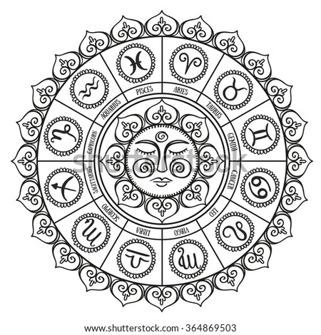 Zodiac circle with horoscope signs.Hand drawn Vector illustration - stock vector
