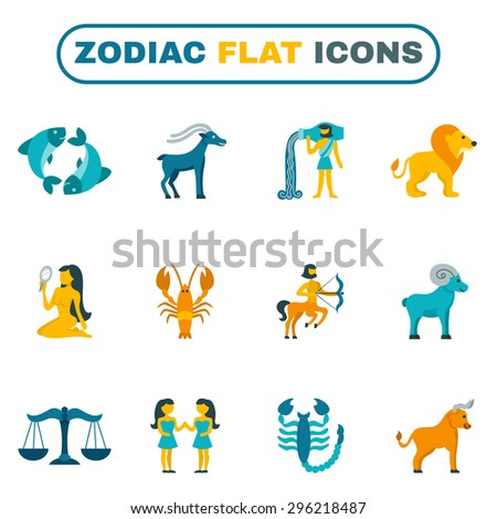 Zodiac constellation and astrology symbols icon flat set isolated vector illustration - stock vector