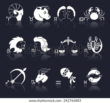 Zodiac constellation astrology signs decorative icons white set isolated vector illustration - stock vector