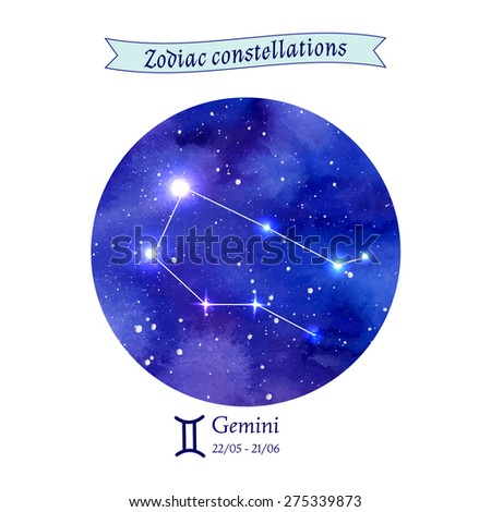 Zodiac constellation. Gemini. The Twins. Vector illustration - stock vector