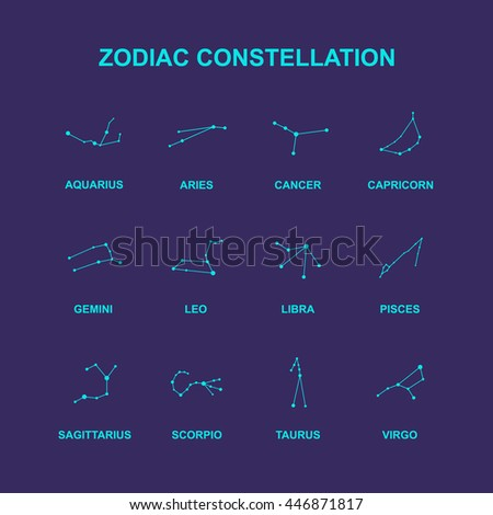 zodiac constellation icons. vector illustration - stock vector