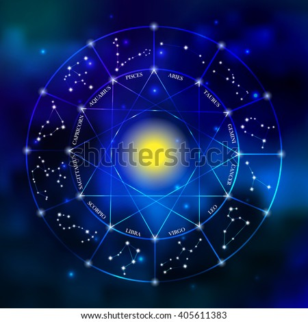 Zodiac constellation set. Collection of zodiac signs. Aries, Gemini, Cancer, Leo, Virgo, Scorpio, Libra, Aquarius, Sagitarius, Pisces, Capricorn, Taurus. Zodiac wheel vector illustration  - stock vector