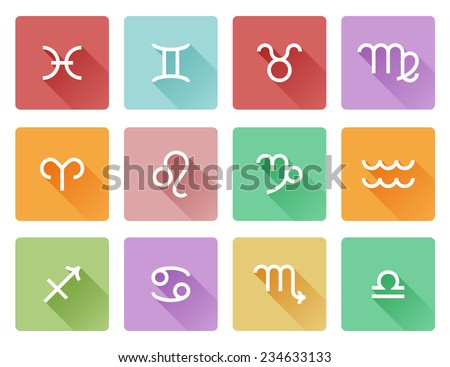 Zodiac horoscope astrology sign flat shadow style icons - stock vector