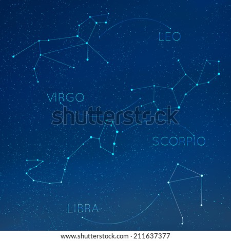 Zodiac, horoscope constellation in skyline with many other stars. Leo, virgo, scorpio, libra vector illustraion - stock vector