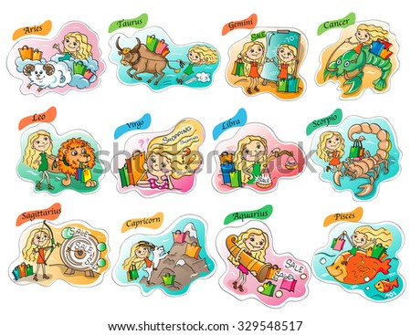 Zodiac horoscope  for shopping and sales. Set of images on white background  - stock vector