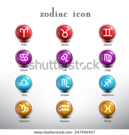 Zodiac Icon. Glossy Button Icon Set. Vector Illustration - stock vector