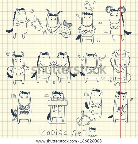Zodiac icon set. Horoscope with horses. 2014 year blue horse - stock vector