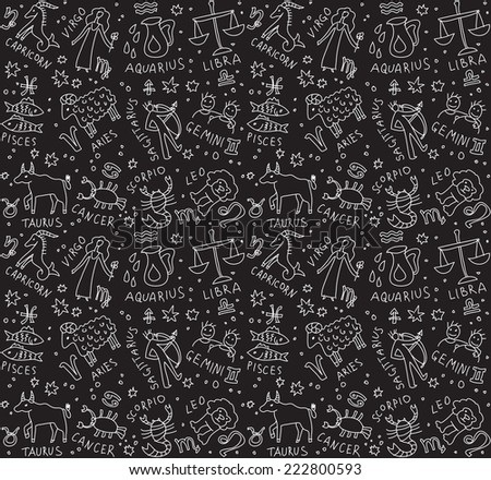 Zodiac icons seamless pattern Black and white vector illustration - stock vector