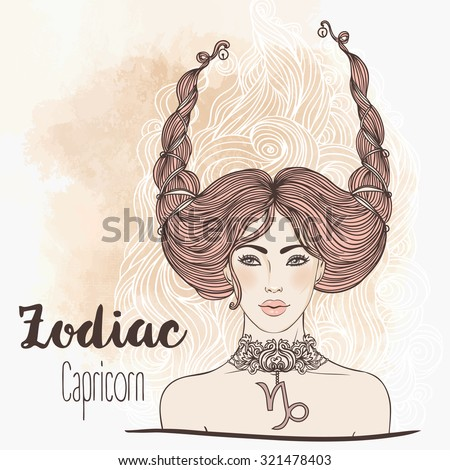 Zodiac: Illustration of Capricorn astrological sign as a beautiful girl isolated on white. Vector art.  Vintage boho style fashion illustration.. Design for coloring book page for adults and kids. - stock vector