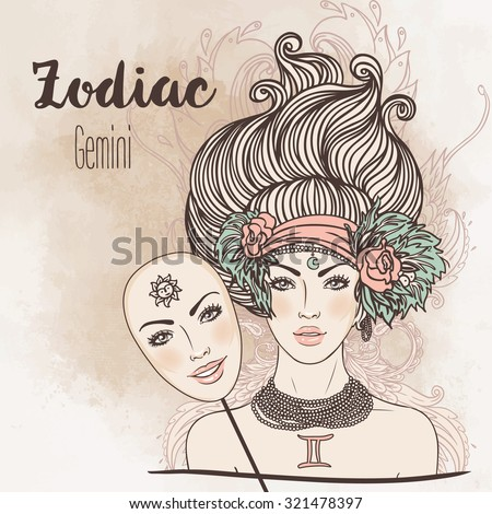 Zodiac: Illustration of Gemini astrological sign as a beautiful girl. Vector.  Vintage boho style fashion illustration. Design for coloring book page for adults and kids. - stock vector
