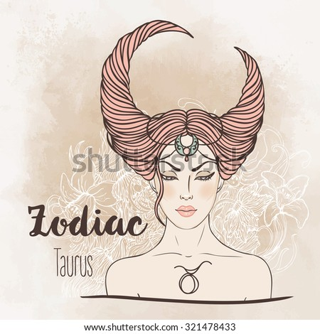 Zodiac: Illustration of Taurus astrological sign as a beautiful girl. Vector.  Vintage boho style fashion illustration. Design for coloring book page for adults and kids. - stock vector