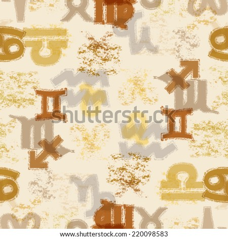 Zodiac Seamless Pattern with Signs of Aries , Taurus , Gemini , Cancer , Leo , Virgo , Libra , Scorpio , Sagittarius , Capricorn , Aquarius and Pisces . Horoscope Design in Grunge Distress Style .  - stock vector