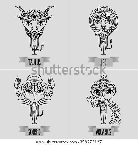 zodiac set of fixed signs - decorative minimalist drawing of taurus, leo, scorpio, aquarius - stock vector