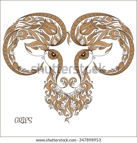 Zodiac sign - Aries.  Hand drawn doodle scorpion with elements of the ornament in ethnic style, of lace flowers, tendrils and leaves . Vector illustration, Isolated on white. - stock vector