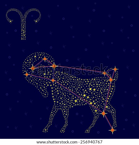 Zodiac sign Aries on a background of the starry sky with the scheme of stars in the constellation, vector illustration - stock vector