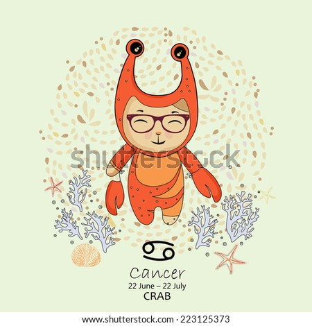 Zodiac sign - Cancer. Vector illustration. Background with flowers in retro style. Doodle hand-drawn style. - stock vector